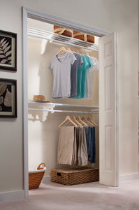 Top ez shelf diy expandable closet kit 2 closet shelf rods units and 2 end brackets each unit 40 in to 74 in white