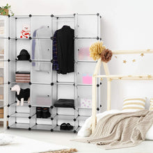 Load image into Gallery viewer, Save tangkula portable clothes closet wardrobe bedroom armoire diy storage organizer closet with doors 16 cubes and 8 shoe racks
