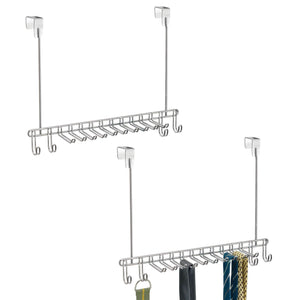 Storage mdesign metal over door hanging closet storage organizer rack for mens and womens ties belts slim scarves accessories jewelry 4 hooks and 10 vertical arms on each 2 pack chrome 1