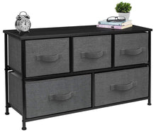 Load image into Gallery viewer, The best sorbus dresser with drawers furniture storage tower unit for bedroom hallway closet office organization steel frame wood top easy pull fabric bins 5 drawer black charcoal