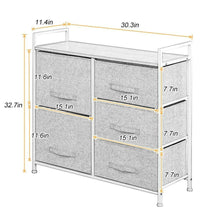 Load image into Gallery viewer, Shop soges 5 drawer storage organizer unit for bedroom play room closets entryway free standing rack metal frame with fabric bin beige 107 bm