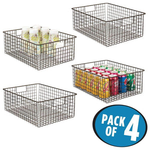 Great mdesign farmhouse decor metal wire food organizer storage bin baskets with handles for kitchen cabinets pantry bathroom laundry room closets garage 4 pack bronze