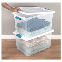 Load image into Gallery viewer, Purchase 60 quart storage containers 6 pack closet lids space saver baskets box stacking bin portable organizer ebook