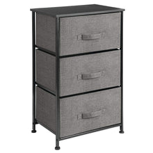 Load image into Gallery viewer, Get mdesign vertical dresser storage tower sturdy steel frame wood top easy pull fabric bins organizer unit for bedroom hallway entryway closets textured print 3 drawers charcoal gray black