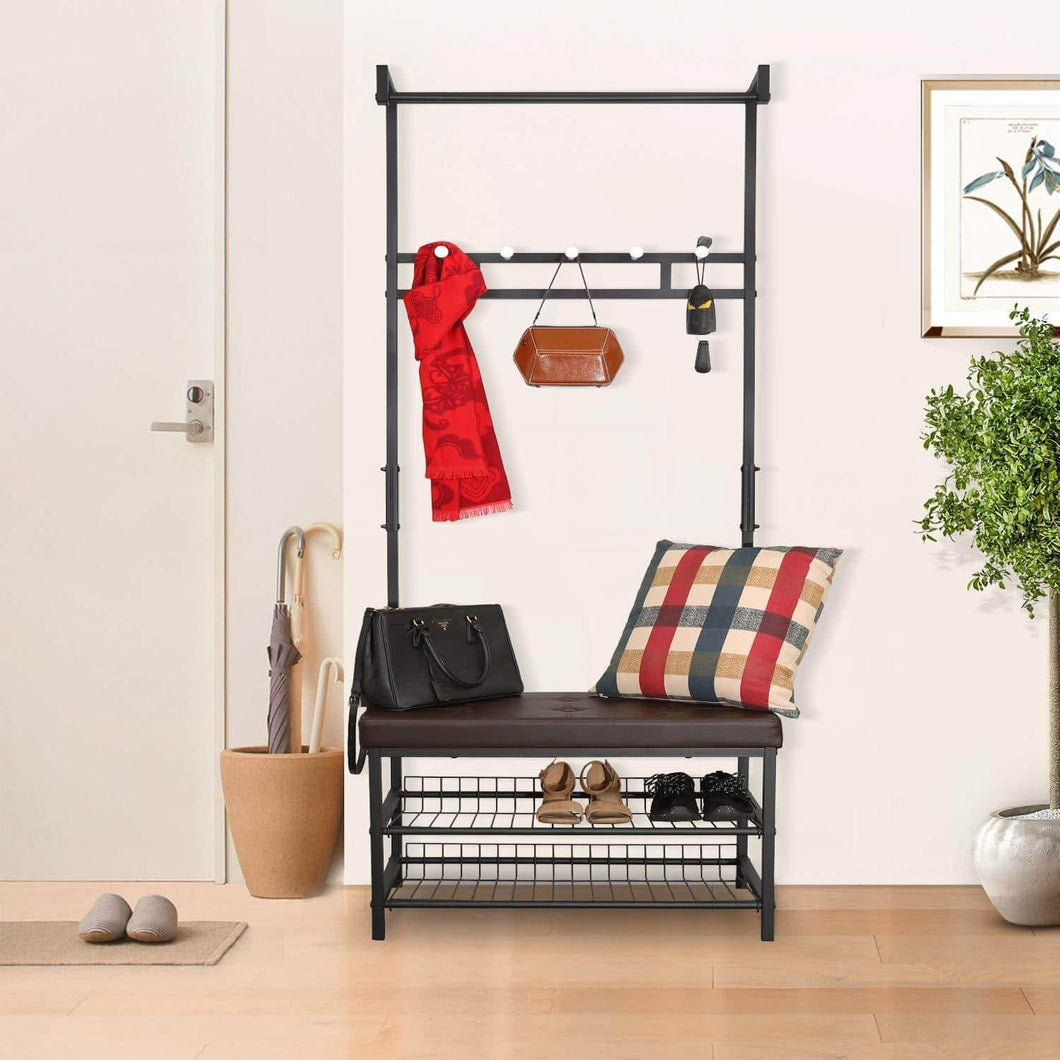 Hromee Vintage 4 in 1 Hall Tree with Leather Bench 5 Coat Rack Hooks Metal and Wood Shoe Shelf Organizer for Entryway Foyer
