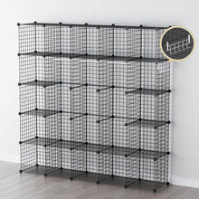 Load image into Gallery viewer, Related george danis wire storage cubes metal shelving unit portable closet wardrobe organizer multi use rack modular cubbies black 14 inches depth 5x5 tiers