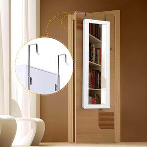 Latest cloud mountain jewelry cabinet 6 leds jewelry armoire lockable wall door mounted jewelry cabinet organizer with mirror 2 drawers bedroom living room cloakroom closet white