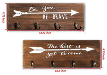 Load image into Gallery viewer, Save on spiretro set of 2 wall mount wood plaque metal key hook rack printed arrow sign and inspirational words coat hat bag hang organizer leash holder 16 5 inch for entryway kids room hallway closet rustic teak brown