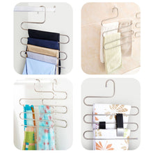 Load image into Gallery viewer, Storage organizer doiown pants hangers s shape stainless steel clothes hangers space saving hangers closet organizer for pants jeans scarf5 layers 10pcs