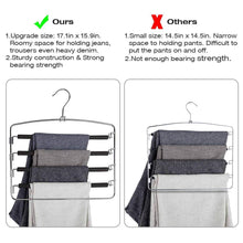 Load image into Gallery viewer, Budget friendly doiown pants hangers slacks hangers space saving non slip stainless steel clothes hangers closet organizer for pants jeans trousers scarf 4 pack large size 17 1high x 15 9width
