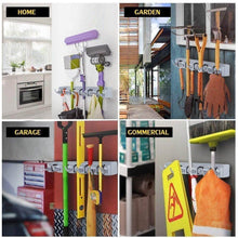 Load image into Gallery viewer, Order now feir mop broom holder wall mounted kitchen hanging garage utility tool organizers and storage rack for commercial bathroom laundry room closet gardening