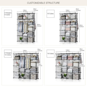 Kitchen george danis wire storage cubes metal shelving unit portable closet wardrobe organizer multi use rack modular cubbies black 14 inches depth 3x5 tiers