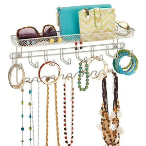 Get mdesign decorative metal closet wall mount jewelry accessory organizer for storage of necklaces bracelets rings earrings sunglasses wallets 8 large 11 small hooks 1 basket 2 pack satin