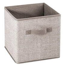 Load image into Gallery viewer, Discover the best mdesign small soft fabric closet organizer cube bin box front handle storage for closet bedroom furniture shelving units textured print 11 high 8 pack linen tan