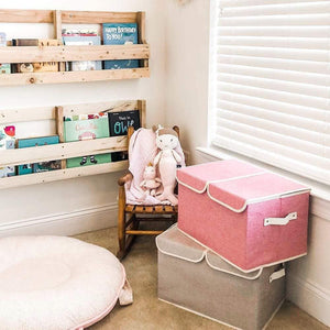 Discover large storage boxes 3 pack ezoware large linen fabric foldable storage cubes bin box containers with lid and handles for nursery closet kids room toys baby products silver gray