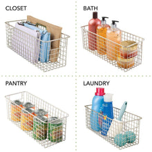 Load image into Gallery viewer, Organize with mdesign farmhouse decor metal wire food storage organizer bin basket with handles for kitchen cabinets pantry bathroom laundry room closets garage 16 x 6 x 6 4 pack satin
