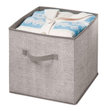 Load image into Gallery viewer, Order now mdesign large soft fabric closet home storage organizer cube bin box front handle storage for closet bedroom furniture shelving units textured print 12 75 high 2 pack linen tan