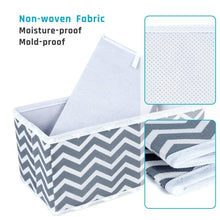 Load image into Gallery viewer, New storage bins ispecle foldable cloth storage cubes drawer organizer closet underwear box storage baskets containers drawer dividers for bras socks scarves cosmetics set of 6 grey chevron pattern