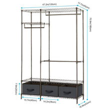Load image into Gallery viewer, Kitchen lifewit full metal closet organizer wardrobe closet portable closet shelves with adjustable legs non woven fabric clothes cover and 3 drawers sturdy and durable large size