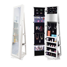 Load image into Gallery viewer, Best seller  bonnlo cheval jewelry armoire 360 degree rotary swivel mirrored cabinet w 63 h full length mirror lockable decorate closet makeup organizer floor bedroom solid freestanding new year gift