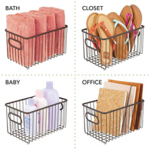 Load image into Gallery viewer, Budget friendly mdesign metal farmhouse kitchen pantry food storage organizer basket bin wire grid design for cabinets cupboards shelves countertops closets bedroom bathroom 10 long 4 pack bronze