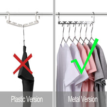 Load image into Gallery viewer, Results magicool 20 pack metal wonder magic cascading hanger space saving hangers closet organizers suit for shirt pant clothes hangers space saving