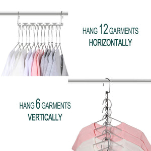 Get meetu space saving hangers wonder multifunctional clothes hangers stainless steel 6x2 slots magic hanger cascading hanger updated hook design closet organizer hanger pack of 12