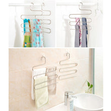 Load image into Gallery viewer, Explore multi purpose pants hangers ceispob s type 5 layers stainless steel clothes hangers storage pant rack closet space saver for trousers jeans towels scarf tie 4 pack