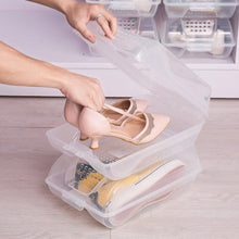 Load image into Gallery viewer, Shop here baoyouni clear shoe box closet corner storage case holder dust proof breathable organizer saving space stackable with lid for flats athletic shoes sandals heels sneakers pack of 5