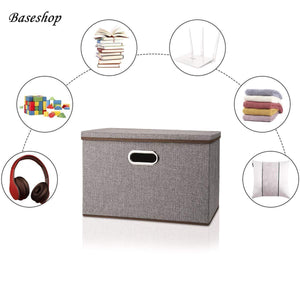 Kitchen storage container organizer bin collapsible large foldable linen fabric gray box with removable lid and handles for home baby office nursery closet bedroom living room no peculiar smell 1 pack