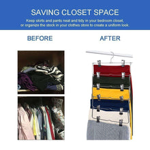 Load image into Gallery viewer, Latest 6 tier skirt hangers star fly space saving pants hangers sturdy multi purpose stainless steel pants jeans slack skirt hangers with clips non slip closet storage organizer 3pcs