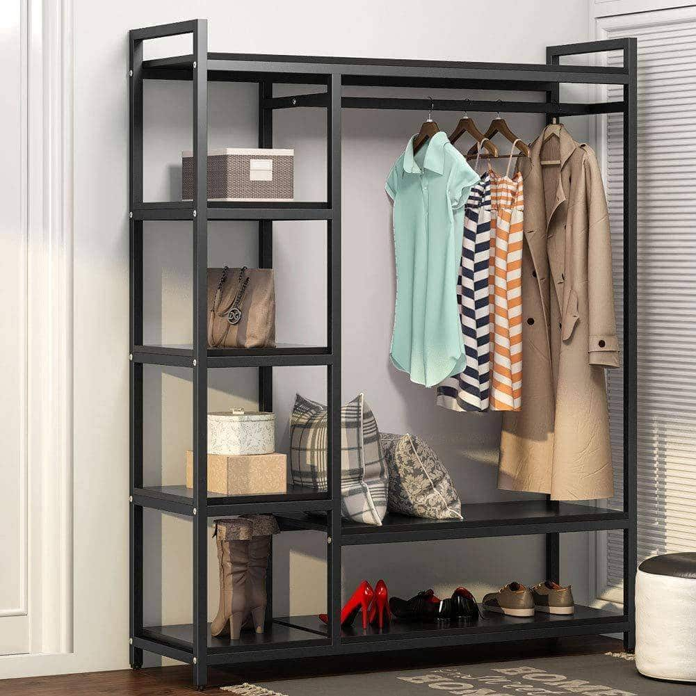 Shop for little tree free standing closet organizer heavy duty closet storage with 6 shelves and handing bar large clothes storage standing garmen rack black
