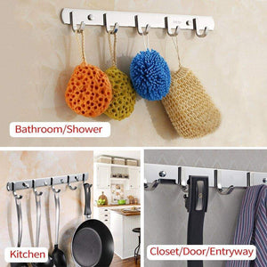 Organize with tiang hook rail coat rack with 5 hooks wall mounted adhesive satin finish hook rack hanger set of 2 15 inch stainless steel hook rack organizer for hat clothes bathroom towels closet door kitchen
