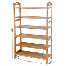 Load image into Gallery viewer, Best seller  songmics bamboo wood shoe rack 6 tier 18 24 pairs entryway standing shoe shelf storage organizer for kitchen living room closet ulbs26n