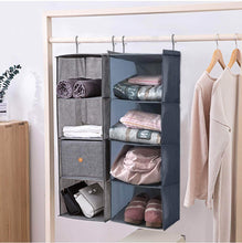 Load image into Gallery viewer, Select nice ishealthy hanging closet organizer and storage 4 shelf easy mount foldable hanging closet wardrobe storage shelves clothes handbag shoes accessories storage washable oxford cloth fabric gray