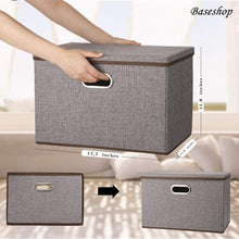 Load image into Gallery viewer, New storage container organizer bin collapsible large foldable linen fabric gray box with removable lid and handles for home baby office nursery closet bedroom living room no peculiar smell 1 pack