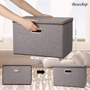 New storage container organizer bin collapsible large foldable linen fabric gray box with removable lid and handles for home baby office nursery closet bedroom living room no peculiar smell 1 pack
