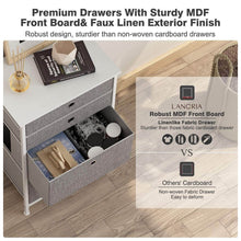 Load image into Gallery viewer, Get langria faux linen home dresser storage tower with 4 easy pull drawers sturdy metal frame and wooden tabletop perfect organizer for guest room dorm room closet hallway office area gray