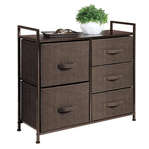 Products mdesign wide dresser storage tower sturdy steel frame wood top easy pull fabric bins organizer unit for bedroom hallway entryway closets textured print 5 drawers espresso brown