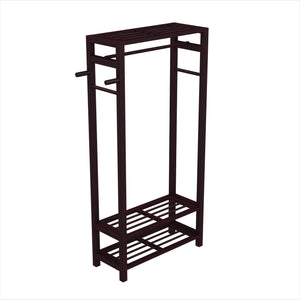 Stony-Edge Wood Coat & Shoe Garment Rack and Hat Stand for Hallway or Front Door Entryway - Free-Standing Clothing Rail Hanger - Easy to Assemble - Espresso