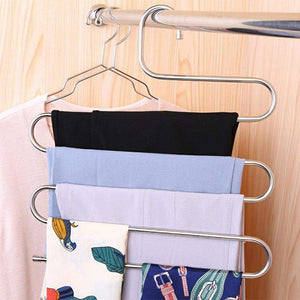 Try 6 pack pants hangers s type closet organizer stainless steel multi layers magic hanger space saver clothes rack tiered hanging storage for jeans scarf skirt 14 17 x 14 96 inch