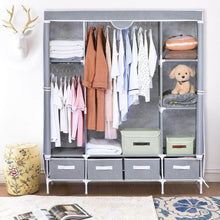 Load image into Gallery viewer, Shop here portable clothes closet canvas wardrobe closet huge free standing clothes organizer storage with hanging rod dust proof cover 67x58x17 7 inch