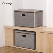 Load image into Gallery viewer, Latest storage container organizer bin collapsible large foldable linen fabric gray box with removable lid and handles for home baby office nursery closet bedroom living room no peculiar smell 1 pack