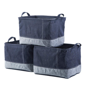 Amazon iflower storage bin basket decorative laundry basket storage cube bin organizer with handle for nursery playroom closet clothes baby toy jean 3pcs