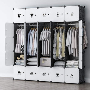 Related george danis portable wardrobe clothes closet plastic dresser multi use modular cube storage organizer bedroom armoire black 18 inches depth 5x5 tiers