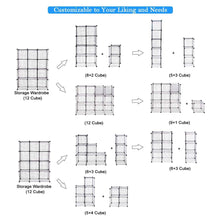 Load image into Gallery viewer, Amazon tangkula wire storage cubes metal wire free standing modular shelving grids diy bookcase closet wardrobe organization storage cubes 12 cubes