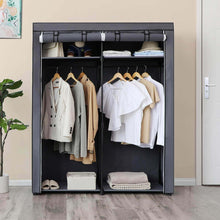 Load image into Gallery viewer, Results songmics closet storage organizer portable wardrobe with hanging rods clothes rack foldable cloakroom study stable 55 1 x 16 9 x 68 5 inches gray uryg02gy