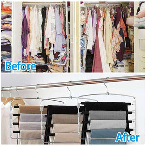 The best homeideas pack of 4 non slip pants hangers stainless steel slack hangers space saving clothes hangers closet organizer with foam padded swing arm multi layers rotatable hook 1
