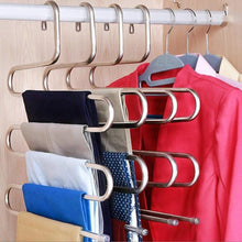 Load image into Gallery viewer, Exclusive multi purpose pants hangers ceispob s type 5 layers stainless steel clothes hangers storage pant rack closet space saver for trousers jeans towels scarf tie 4 pack
