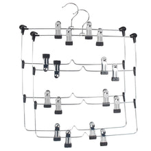 Load image into Gallery viewer, Select nice lohas home 4 tier skirt hangers pants hangers closet organizer stainless steel fold up space saving hangers 2 pieces